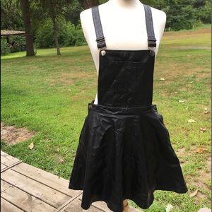 Vinyl black overall mini skirt